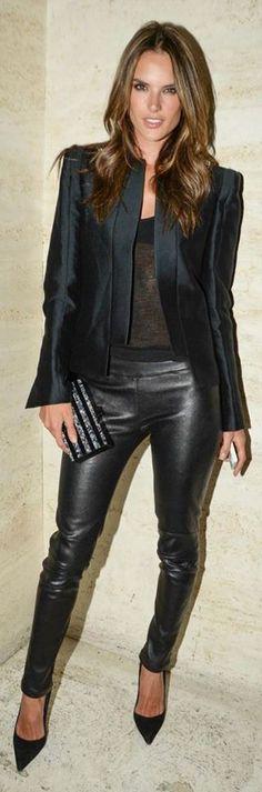 Alessandro Ambrosio Classic black leather