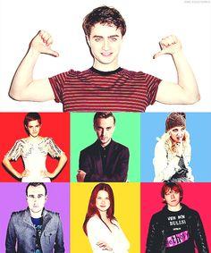 The Big Seven - Daniel Radcliffe, Emma Watson, Tom Felton, Evanna Lynch, Matthew Lewis, Bonnie Wright, Rupert Grint.