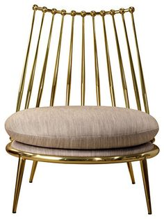 AURORA armchair from property furniture. Metal armchair with upholstered seat in fabric. Frame finishes: brass or copper. Design Furniture, Chair Design, Cool Furniture, Furniture Ideas, Console Design, Contemporary Armchair, Love Chair, Chair Redo, Grey Chair