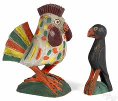 Carl Snavely (Lancaster, Pennsylvania 1915-1983), carved and painted rooster with a small eaglet.
