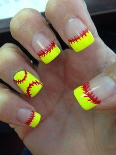 softball nails, I'd get them as a softball mom! Softball Nails, Softball Party, Baseball Nails, Softball Crafts, Softball Quotes, Softball Pictures, Softball Players, Girls Softball, Fastpitch Softball
