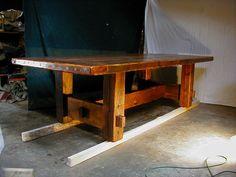 Custom Made Barnwood Furniture - Plank Dining Table (Custom Made Farm Table)