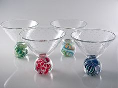 """Marbletini""        Art Glass Goblet                                                                      Created by                          Michael Egan"