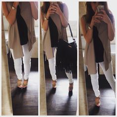 Taupe and white for a casual Friday. Jeans: mango Vest: top shop Waistcoat: Zara  Shoes: Zara Bag: Kurt Geiger