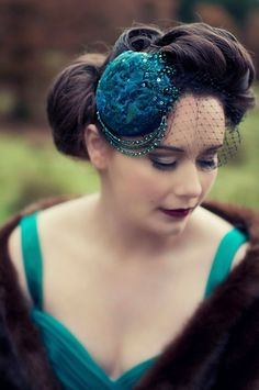 Teal Feather Organza Crystal Hairpiece/Hair Clip/Fascinator on Etsy, $85.00