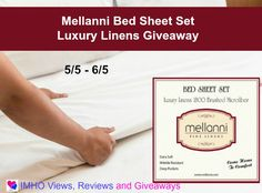 Mellanni Bed Sheet Set Luxury Linens Giveaway (US)ends 6-5; enter to win at http://crtvlsy.ca/2pkQs3h