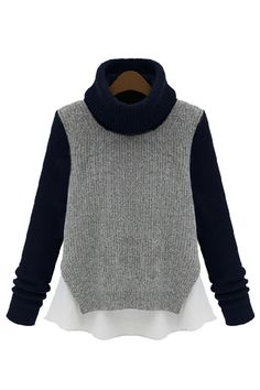 Heather Grey / Navy Blue Chiffon Trimmed Sweater   $55