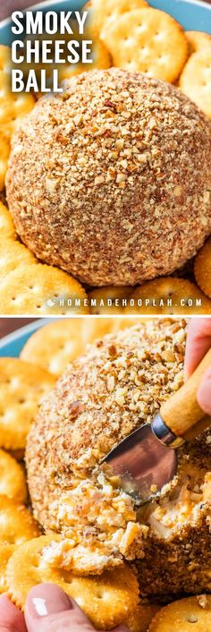 Easy Smoky Cheese Ball! This super easy cheese ball keeps it simple with the basics and a slightly smoky taste. Great for serving as-is or using it as a base for your own creation! | HomemadeHooplah.com