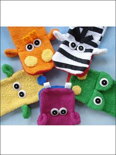 Wash Cloth Hand Puppets Sewing Pattern Download from e-PatternsCentral.com -- These cute puppets can be used for playtime or with soap and water in the bathtub to make washing more fun!
