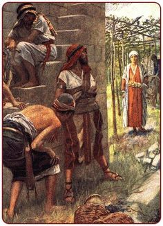 """May 30th - Mark 12:1-12: Jesus began to speak to the chief priests, the scribes, and the elders in parables. """"A man planted a vineyard, put a hedge around it, dug a wine press, and built a tower. Then he leased it to tenant farmers and left on a journey. At the proper time he sent a servant to the tenants to obtain from them some of the produce of the vineyard. But they seized him, beat him, and sent him away empty-handed. Genesis Bible Study, Jeremiah 11, Parables Of Jesus, Gospel Of Mark, Land Of The Living, Horse Drawn Wagon, Evening Prayer, Lord Of Hosts, The Tenant"""