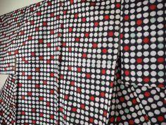@Antique/Japanese silk kimono/Meisen Ikat/polka dot,red, green A01201