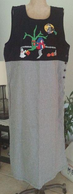 Lemon Grass Halloween Dress School Teacher XL 100% Cotton #Handmade #Shift