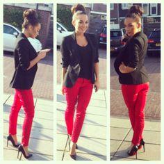 Red pants black blazer