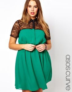 This is cute, but I really don't like having my bra straps show... ASOS Curve | ASOS CURVE Exclusive Shirt Dress With Lace Top at ASOS