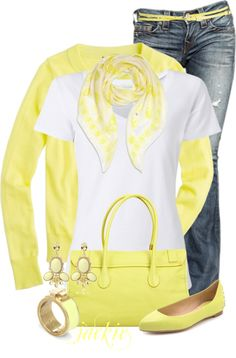 """""""Mellow Yellow for Spring"""" by jackie22 ❤ liked on Polyvore"""