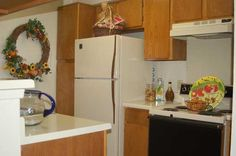 Kitchen view of the model apartment at The Bardin Oaks Apartments in Arlington, TX