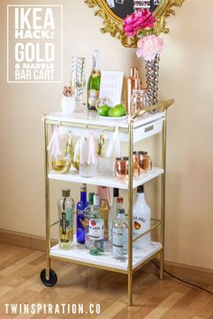 Bottom up! It's an illuminated bar - IKEA hackersAnother great bar hack! Bottom up! It's an illuminated bar - IKEA hackersIKEA Hack: Gold & Marble Bar CartIKEA Hack: Gold & Marble Bar Cart by Twinspiration: Bar Ikea, Ikea Bar Cart, Diy Bar Cart, Gold Bar Cart, Bar Cart Styling, Bar Cart Decor, Bar Carts, Bar Trolley, Ikea Trolley