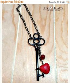 ON SALE antique key necklace-antique key necklace with heart-key to my heart- valentine's day -key necklace-red heart key necklace antique k