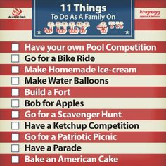11 Things to Do as a Family on July 4th #4th of july activites for kids