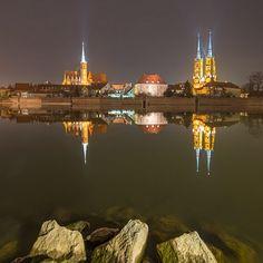 Wrocław nocą - Ostrów Tumski