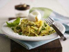 Blitz-Spaghetti in Parmesan-Butter mit Erbsen und gekochtem Ei Rezept
