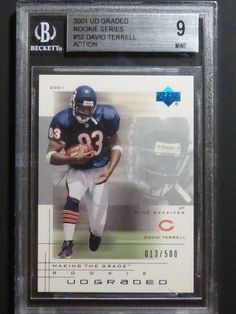 2001 UD Graded DAVID TERRELL Rookie Card Series BGS 9 Mint 52 Action /500 #ChicagoBears #football #cards #upperdeck #udgraded #auctions