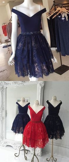 off the shoulder navy blue homecoming dress, short navy lace homecoming dress, red lace homecoming dress, black lace homecoming dress,YY100
