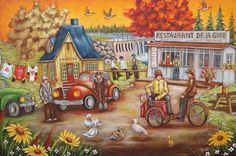 T'en souviens-tu baie-comeau / Christine Genest Tole Painting, Painting & Drawing, Thanksgiving Pictures, Perfect Peace, Ecole Art, Art Story, Nature Journal, Country Art, Canadian Artists