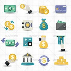 Buy Money and Finance Icons by karawan on GraphicRiver. Money and Finance Icons Web Ui Design, Icon Design, Logo Design, Flat Design, Design Art, Cart Icon, Real Estate Icons, Best Icons, Business Icon