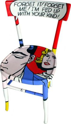 Recycled chairs painted with comic art