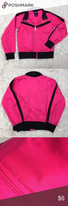 Nike Girls 4T Hot Pink Track Jacket Very good used condition. There are a couple of marks as pictured in the third photo. Nike hot pink and black track jacket toddler girl size 4T.               Price is Firm     ⭐️15% Off All Bundles ⭐️      Nike Jackets & Coats