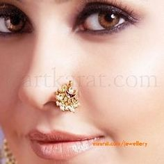 traditional nose ring or nath. Nath Nose Ring, Nose Ring Jewelry, Nose Stud, Nose Rings, Nose Pin Indian, Indian Nose Ring, Stylish Jewelry, Fashion Jewelry, Nose Ring Designs