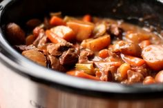 LAZY DAY BEEF STEW Oh, I know you already have an easy beef stew recipe, but mine is better. And it's easier. So let me treat you to the quickest comfort meal on the planet while you go do incredible things. 'Cause, you know...you really are just splendid. ingredients: 2 pounds stew beef 1 small bag baby carrots 3 stalks celery, cut into 1-inch pieces 8-10 red potatoes, quartered 1 onion, quartered 1 pouch au jus gravy mix 2 pouches brown gravy mix 1 pouch ranch dressing powder 3...
