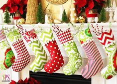 Festive Mantel Decorating Ideas For A Magical Christmas! -- Red, Gold and Lime Christmas mantel decor idea