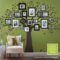 Our Family Tree Wall Decal provides a one-of-a-kind backdrop for your photo gallery wall inspiration. Available in Chestnut Brown, Black, or any custom color from our color chart. Add your framed family photos and enjoy watching your tree blossom with memories!  *Original Design*