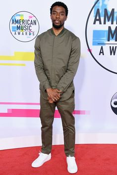 See All the Stars on the 2017 American Music Awards Red Carpet - Chadwick Boseman from InStyle.com