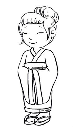 Japonesa Coloring Sheets For Kids, Disney Coloring Pages, Coloring Pages To Print, Japan For Kids, Minnie Mouse Drawing, Second Wedding Anniversary, Kids Around The World, Survival Blanket, Art Drawings For Kids