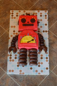 Robot Birthday Cake Design
