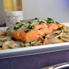 Crispy Salmon with Creamy Basil Noodles | windykitchen