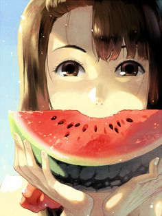 Girl eating a watermelon.