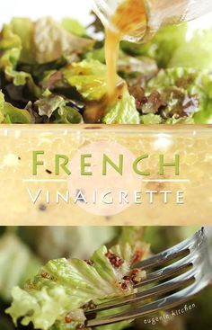 French Vinaigrette, Vinaigrette Salad Dressing, Salad Dressing Recipes, Salad Recipes, Drink Recipes, Salad Sauce, Halibut, Appetizer Recipes, Appetizers