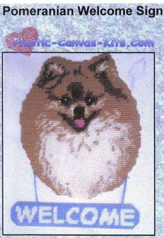POMERANIAN WELCOME SIGN by PLASTIC-CANVAS-KITS.COM 1/3