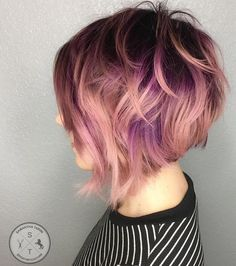 Disheveled Stacked Bob in Rose Gold