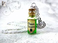 Prince Charming Potion Bottle Necklace with Real Moving Liquid Inside - Love Potion - Shimmer Swirl Green Magic Potion Charm - Mini Cork Vial - Fairy Tale Fantasy Halloween Jewelry - Wedding nacklaces (*Amazon Partner-Link)