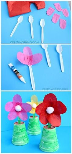 Make some spoon flowers for a Mother's Day gift! It's a cute and easy kids craft! | http://CraftyMorning.com