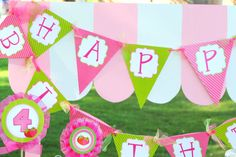 STRAWBERRY SHORTCAKE Inspired Banner - Little Girl Birthday Party - Tea Party - Candy Land Party- Girls Birthday - Instant Download