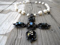 Huge Black Cross Necklace Baroque White Pearls by DeetabyDesign