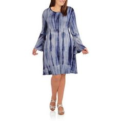 Plus Size Glamour & Co Women's Plus Flared Knit Dress with Bell Sleeves, Size: 3XL, Beige