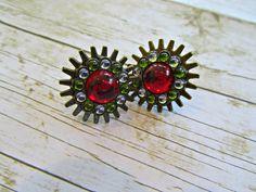 Button Earrings, Red Button Earrings, Button Jewelry, Mothers Day Gifts, Earrings, Bronze Earrings, Red Earrings, Red Prom Earrings, Gifts by BrownBeaverBeadery on Etsy