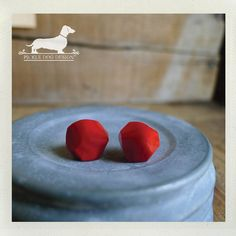 Berry Balls Post Earrings  Red Studs Small Cute by PickleDogDesign, $6.50